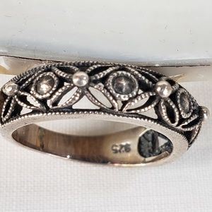 sterling silver 925 filigree band ring
